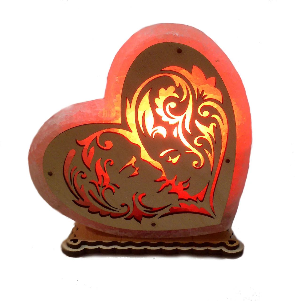 Соляной светильник Сердце большое Лица