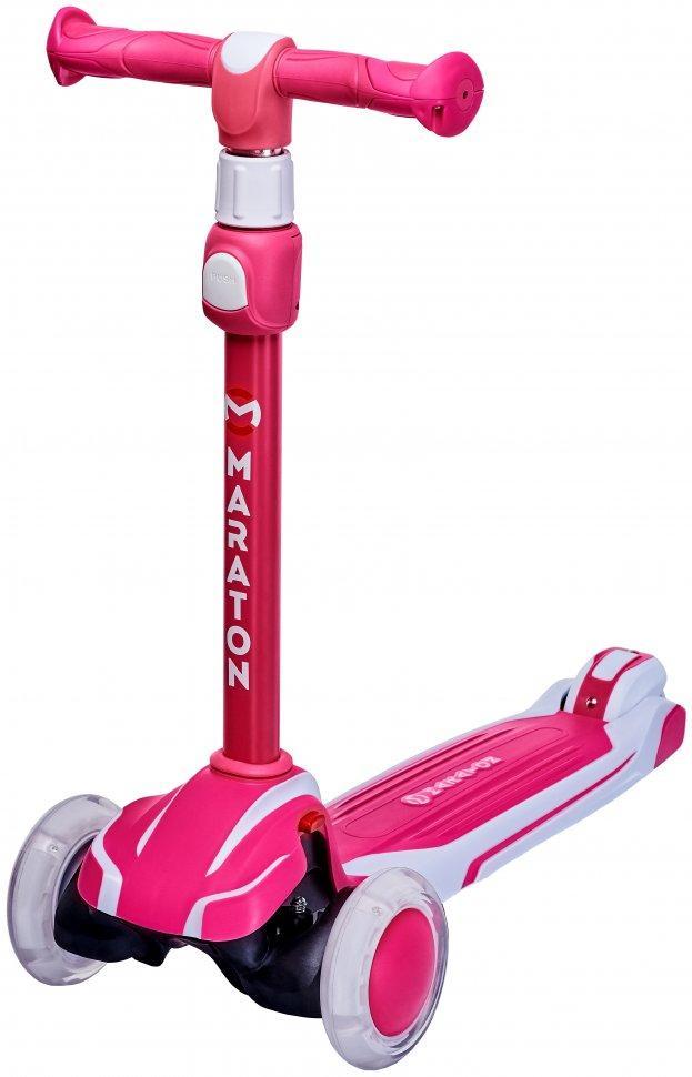 Детский самокат Maraton Global светящ. колеса от 3-х лет розово-белый