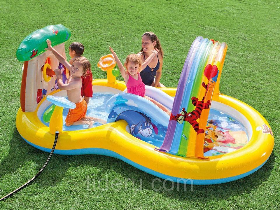 Игровой центр Intex 57136 Винни Пух горка с душем, шариками, надувной аркой