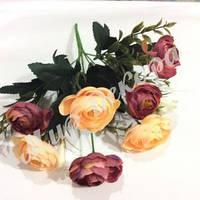 Букет ранункулюса с колокольчиками, лиловый и шампань, 30 см
