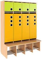 Шкаф для раздевалки, со стационарной лавочкой, закрытый из серии «Мыльные пузыри» MINI