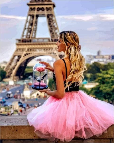 Картина по номерам С цветком в Париже VP1235 Babylon Turbo 40 х 50 см