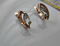 Золотые Серьги Геометрических форм с фианитами  Золото 585 пробы