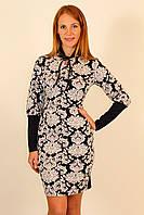 Молодежное трикотажное платье с воротничком стоечка 42-48 р
