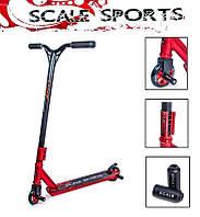 Трюковый самокат  Storm + Пегги от Scale Sports на подшипниках Abec-9 Черно Красного цвета