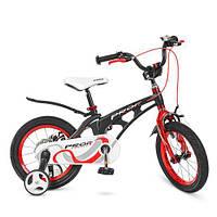 Велосипед дитячий двохколісний для хлопчиків колеса 14 дюймів + допоміжні PROF1 14Д.LMG14201