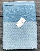Полотенце махровое лицевое 50х90 см Голубое