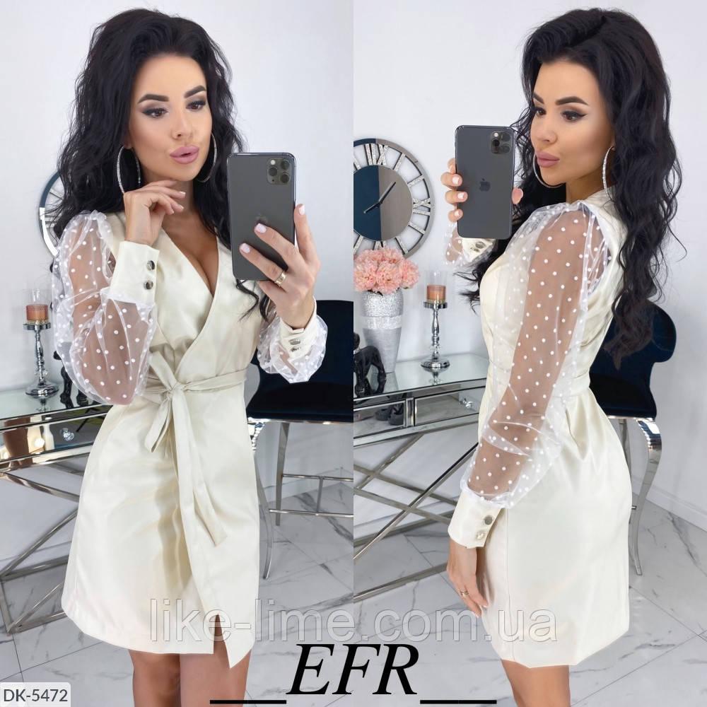 Женское стильное кожаное платье с рукавом-сеткой