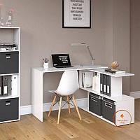Стол компьютерный угловой Белый, прямой, письменный стол из ДСП