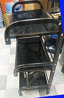 Тележка косметологическая,парикмахерская черная yre-46 на три полки