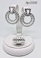 Серьги с подвесом и круглое кольцо с эмалью Кора