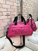 Женская спортивная дорожная сумка небольшая розовая