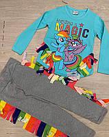 """Детский костюм для девочки""""Friendship is magic"""" 2-6лет,голубого цвета"""