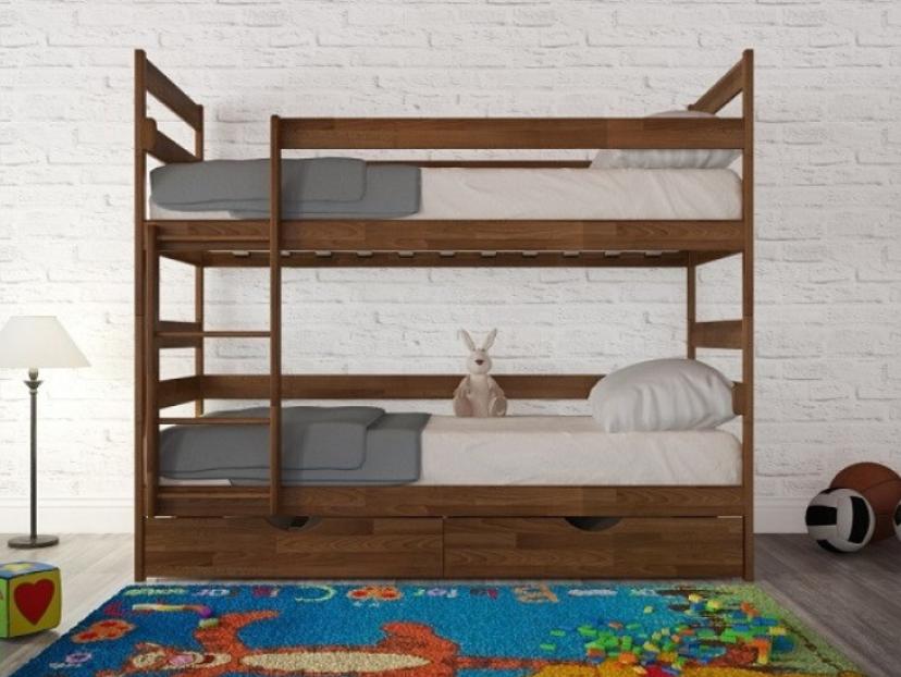 Кровать двухъярусная Дисней из массива дерева.