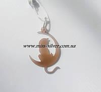 Кулон серебряный Кошка с золотой пластиной, фото 1