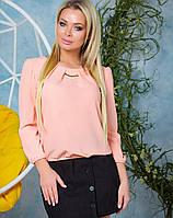 Персиковая нарядная блузка женская из креп-шифона на резинке в размерах 42-52