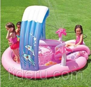Игровой центр Intex 57137 Hello Kitty с горкой надувной аркой и подстилкой