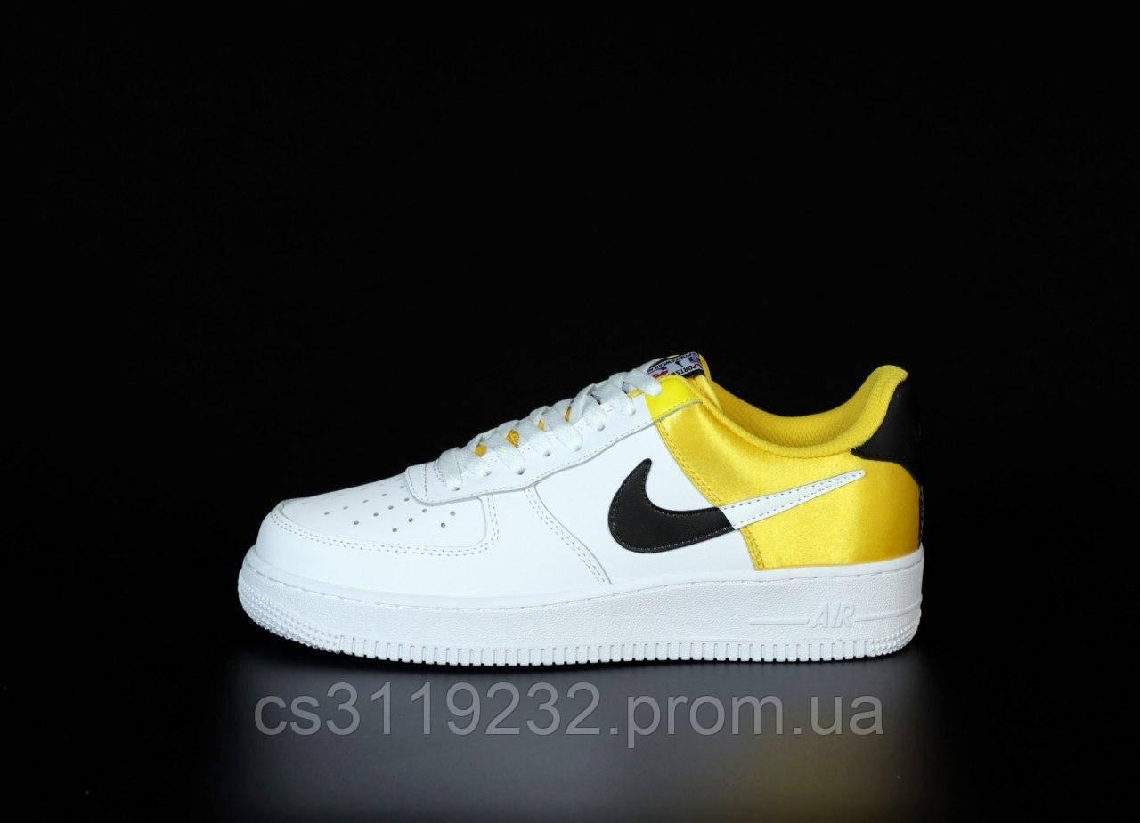 Мужские кроссовки Nike Air Force  (бело-желтые)
