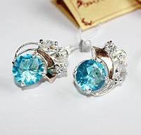 Серебряные серьги с голубым цирконом Карли