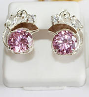 Серьги из серебра с розовым цирконом Карли