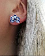 Серьги цветок с синей эмалью Карина