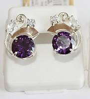 Серьги в серебре с фиолетовым цирконом Карли, фото 1