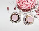 Круглые серьги с розовым цирконом серебро Афина, фото 2