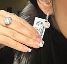 Серебряные серьги с круглым подвесом и колечко Нимфа, фото 2