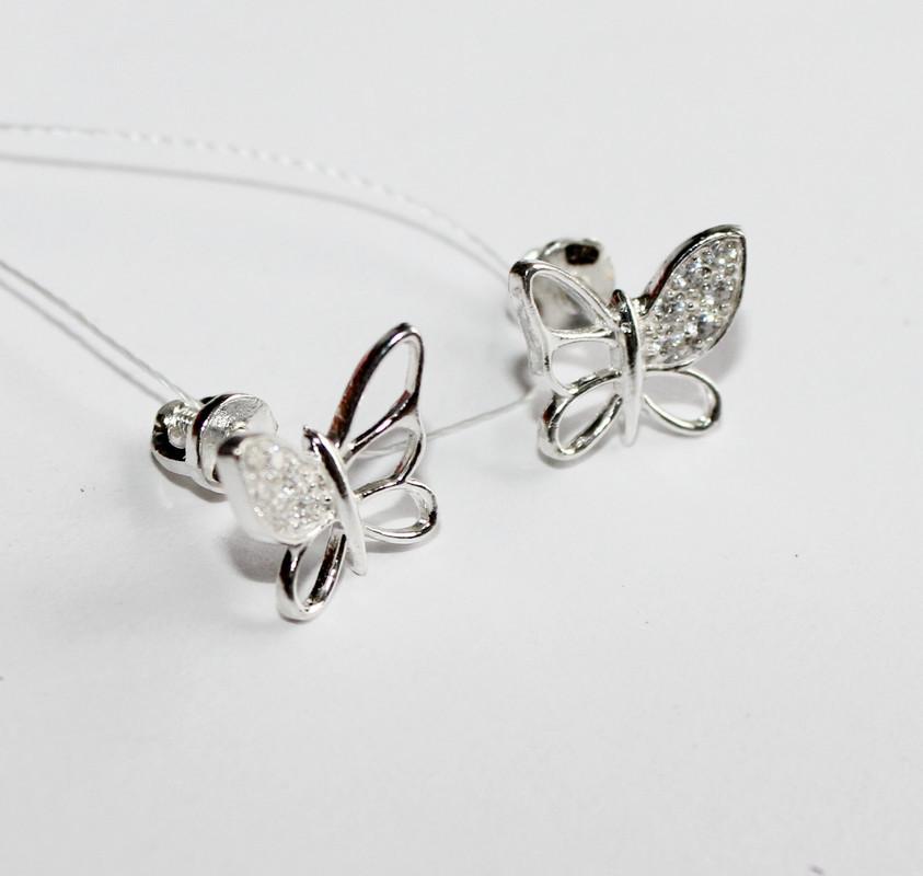 Сережки пусеты в серебре Бабочки