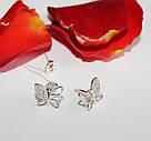 Сережки пусеты в серебре Бабочки , фото 2