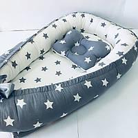 Кокон гнездышко для новорожденных Сладкий Сон с ортопедической подушкой Серый/белый