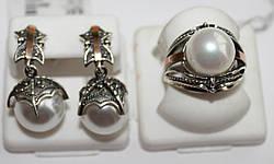 Комплект в серебре с жемчугом Кора