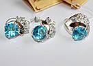 Серебряный комлект с голубым цирконом Карли, фото 2