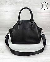 Кожаная стильная женская сумка Elis черного цвета