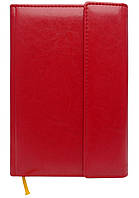 Записна книжка А5 кремовий блок в клітинку. Обкладинка штучна шкіра з клапаном.Червоний 234/2 06К