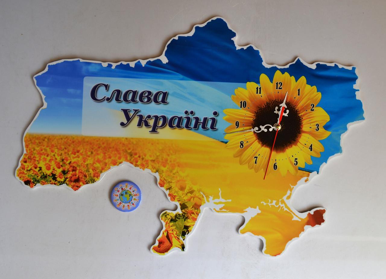 Часы Настенные карта Украины 37х25 см