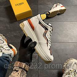 Женские кроссовки  Fendi Beige (бежевые)