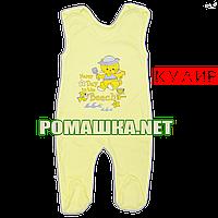 Хлопковые р 56 0-1 мес лёгкие внешние швы высокие ползунки новорожденным на кнопках лямках КУЛИР 3142 Жёлтый Б