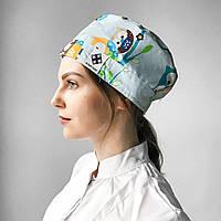 Медицинская шапочка с рисунком совы синие