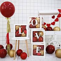 """Набор коробок для воздушных шаров """"LOVE"""". Цвет: Белый. Размер:30см*30см."""
