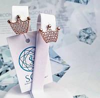 Позолоченые серебряные серьги Коронка