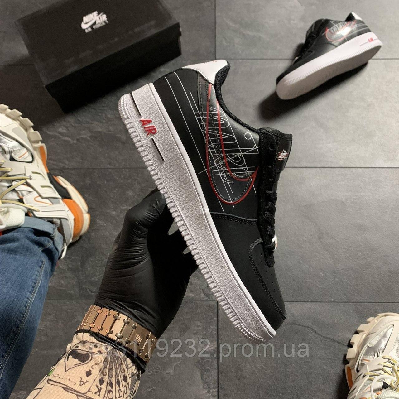 Жіночі кросівки Nike Air Force 1 Black Red White (чорні)