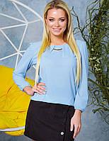 Голубая нарядная блузка женская из креп-шифона на резинке в размерах 42-52