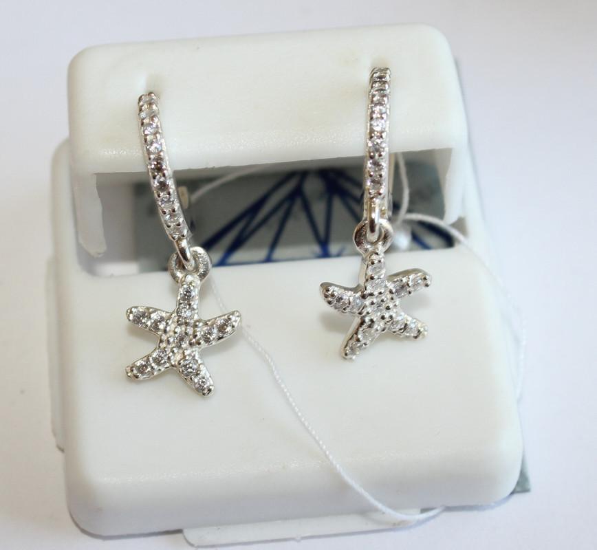 Детские сережки с подвесом Морская звезда