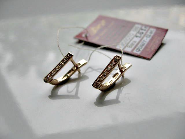 Золотые серьги Дорожки с фианитами ЗОЛОТО 585 пробы
