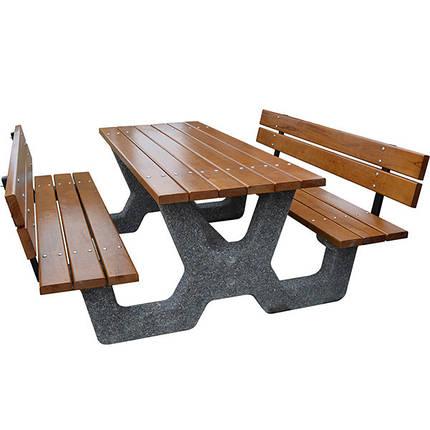 Стол с лавочками комплект со спинкой «Гарден» для беседки, дачи, фото 2