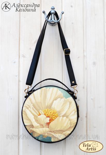 """Пошитая сумка для вышивки бисером Tela Artis """"Кремовый пион"""" СУ-303"""