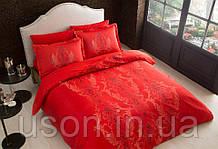 Комплект постельного белья TAC сатин delux евро размер Mauna red
