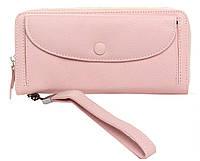Женский кожаный кошелек 20*10*3,5 с ремешком розовый, фото 1