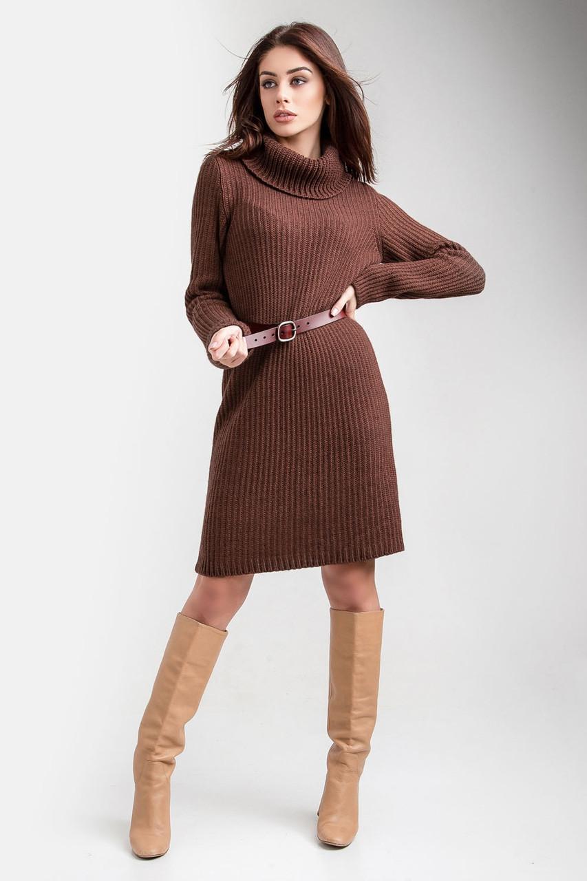 Модное вязаное молодежное платье-свитер 42-46, 48-52 размер